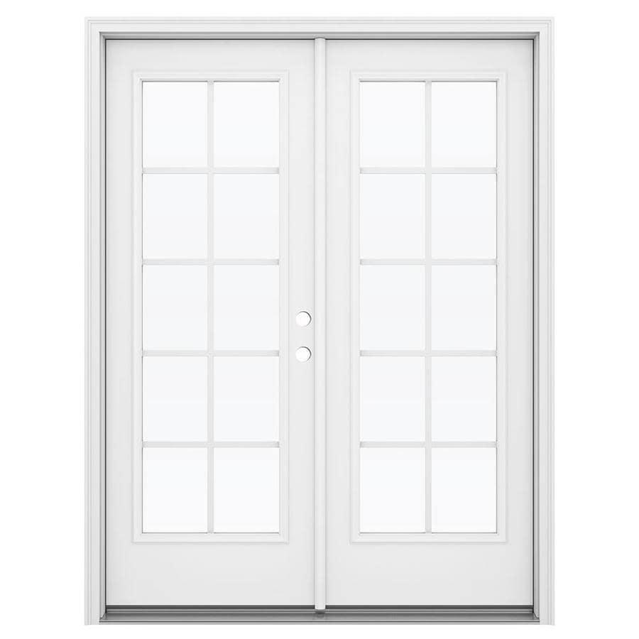 ReliaBilt 59.5-in Grilles Between the Glass Primed Steel French Inswing Patio Door