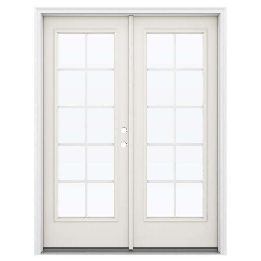 ReliaBilt 59.5-in Grilles Between the Glass Sandy Shore Steel French Inswing Patio Door