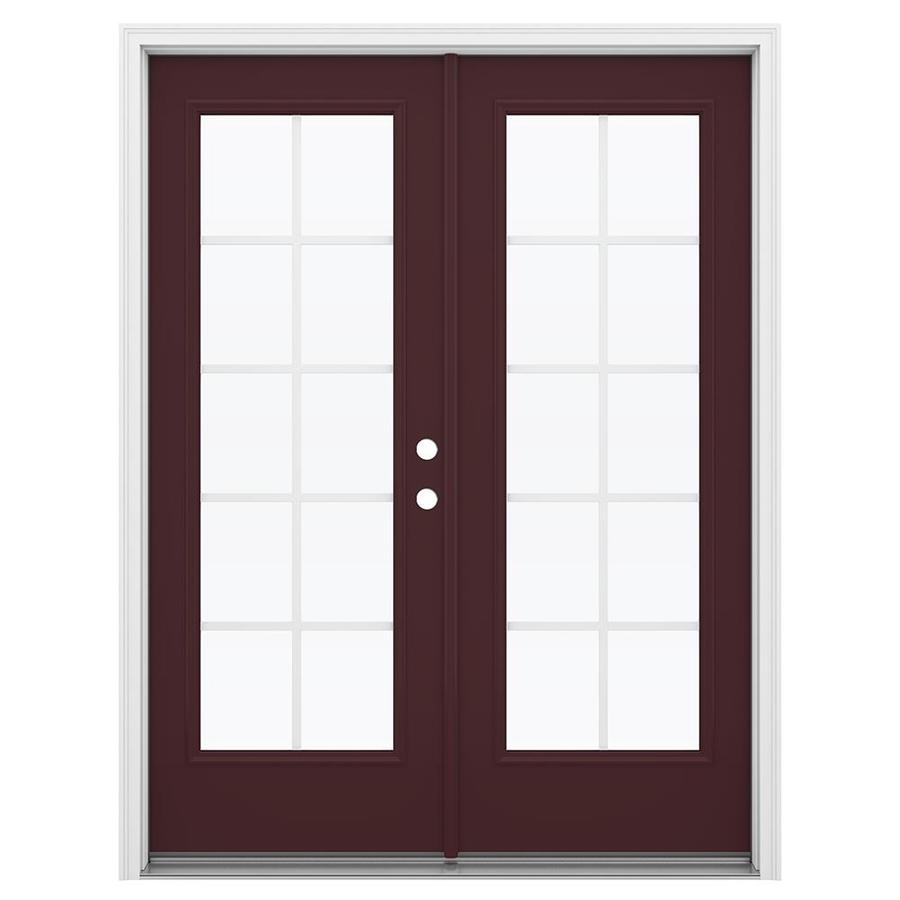 ReliaBilt 59.5-in Grilles Between the Glass Currant Steel French Inswing Patio Door