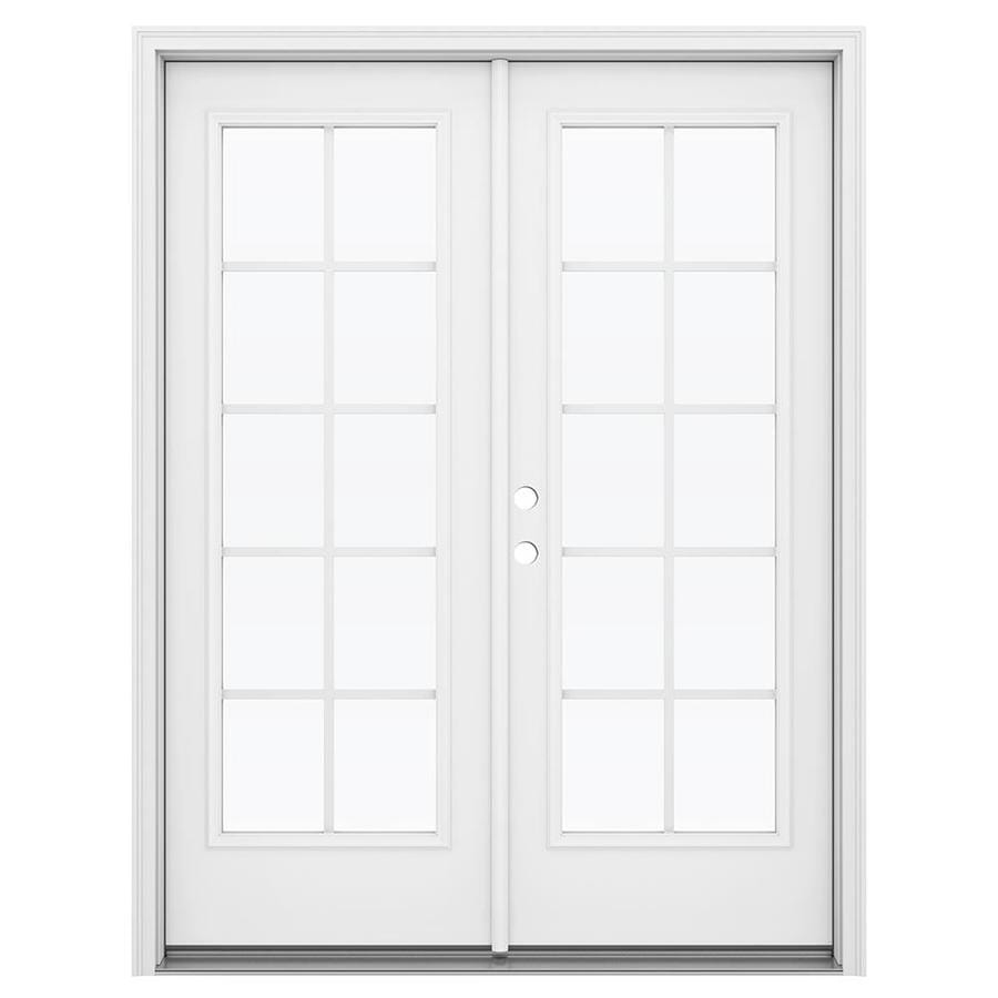 ReliaBilt 59.5-in Grilles Between the Glass Primed Steel French Inswing Patio Door