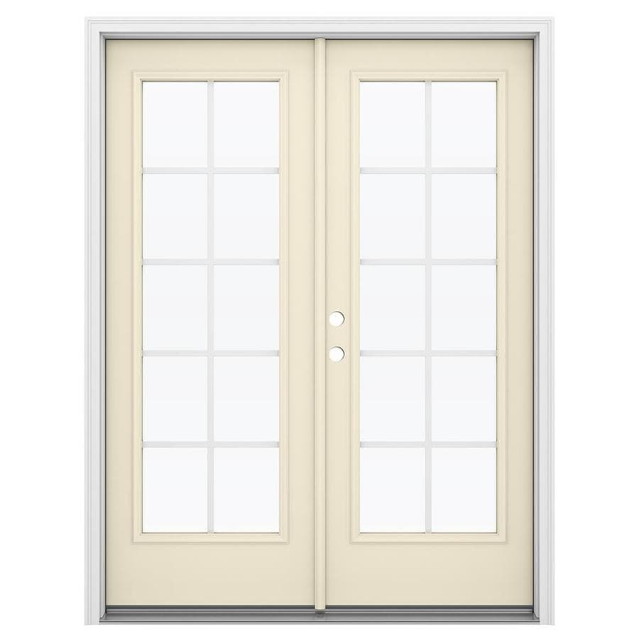 ReliaBilt 59.5-in x 79.5-in Grilles Between the Glass Right-Hand Inswing Steel French Patio Door