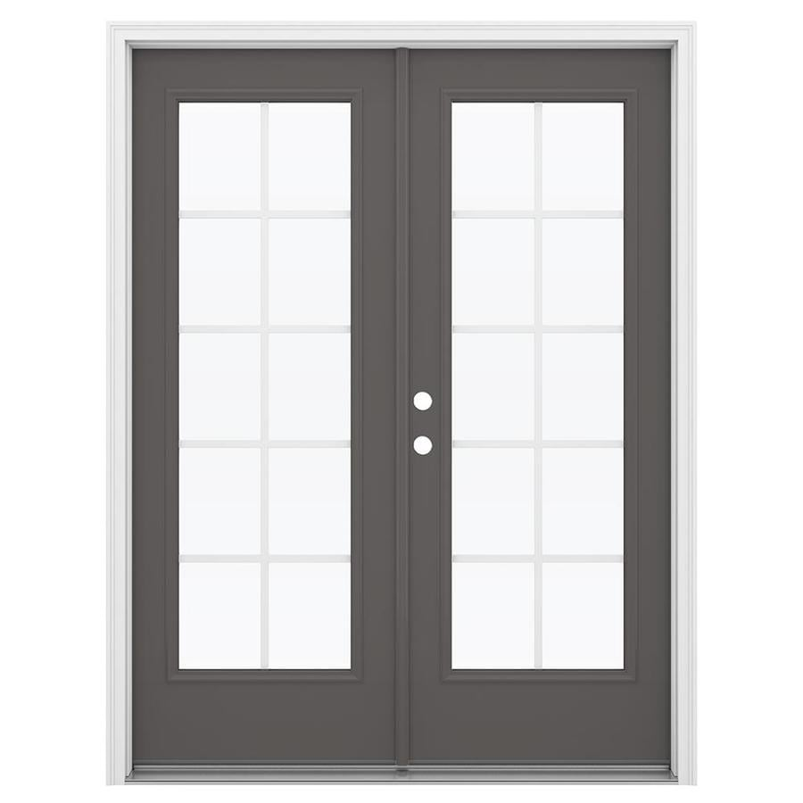 ReliaBilt 59.5-in Grilles Between the Glass Timber Gray Steel French Inswing Patio Door