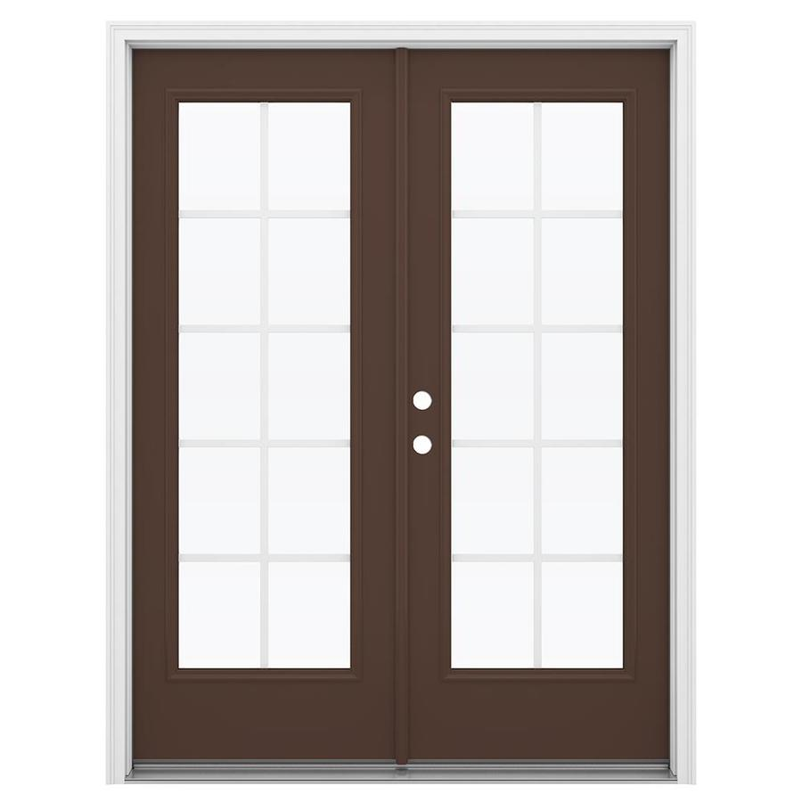 ReliaBilt 59.5-in Grilles Between the Glass Chococate Steel French Inswing Patio Door