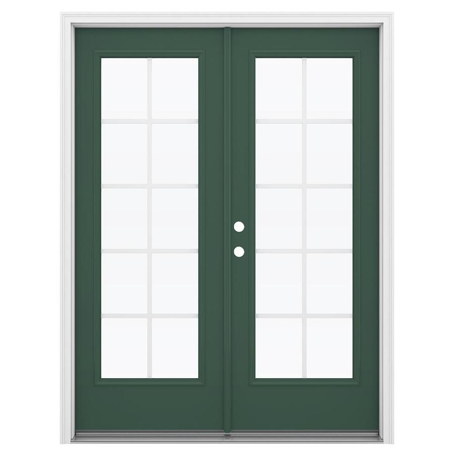 ReliaBilt 59.5-in Grilles Between the Glass Evergreen Steel French Inswing Patio Door