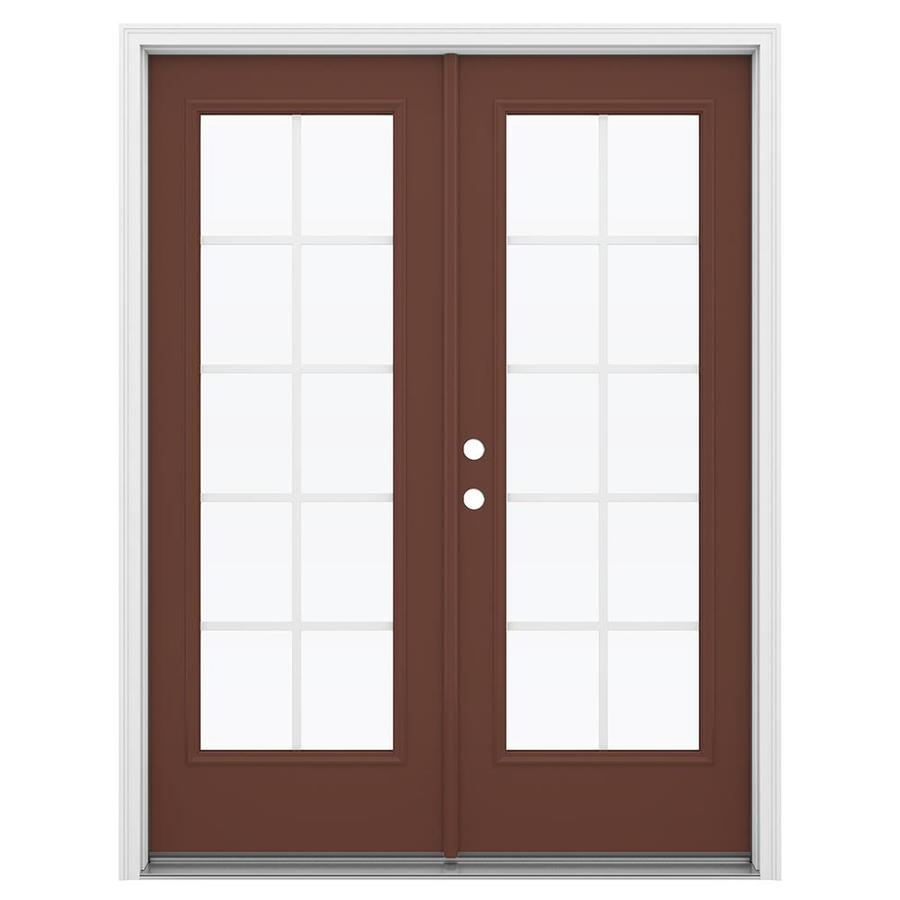 ReliaBilt 59.5-in Grilles Between the Glass Foxtail Steel French Inswing Patio Door