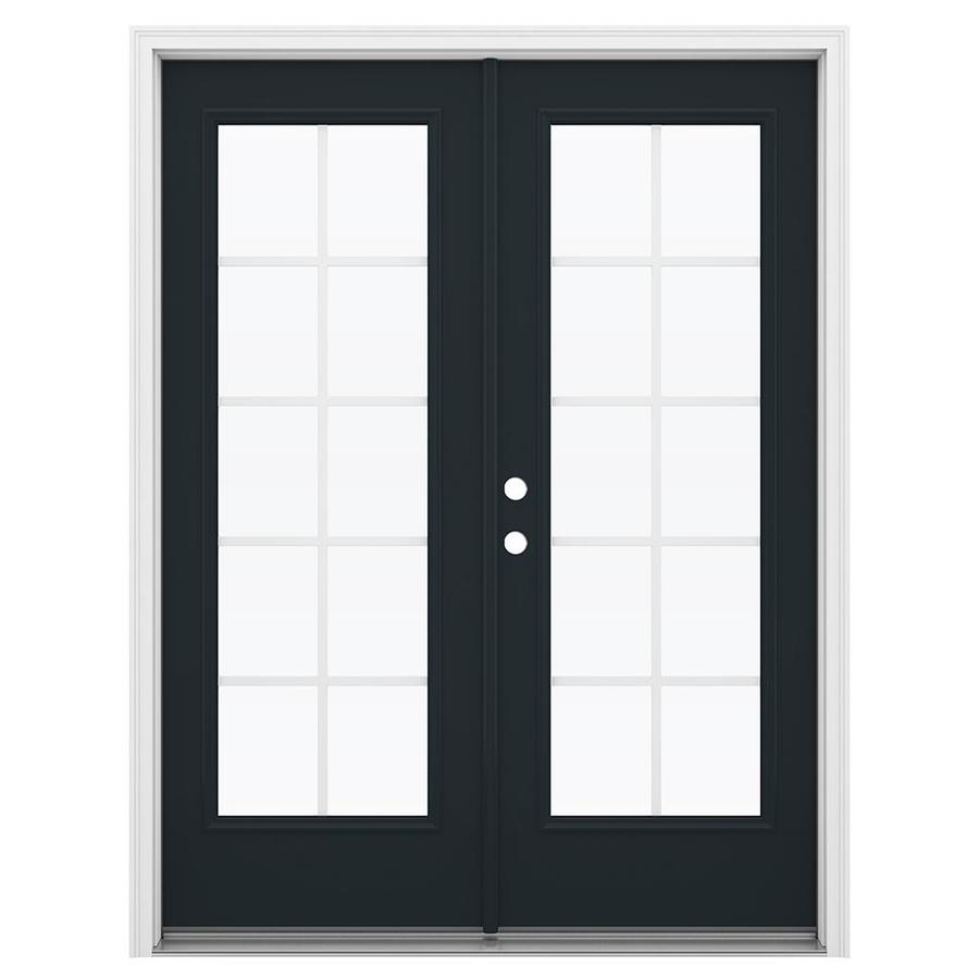 ReliaBilt 59.5-in Grilles Between the Glass Eclipse Steel French Inswing Patio Door