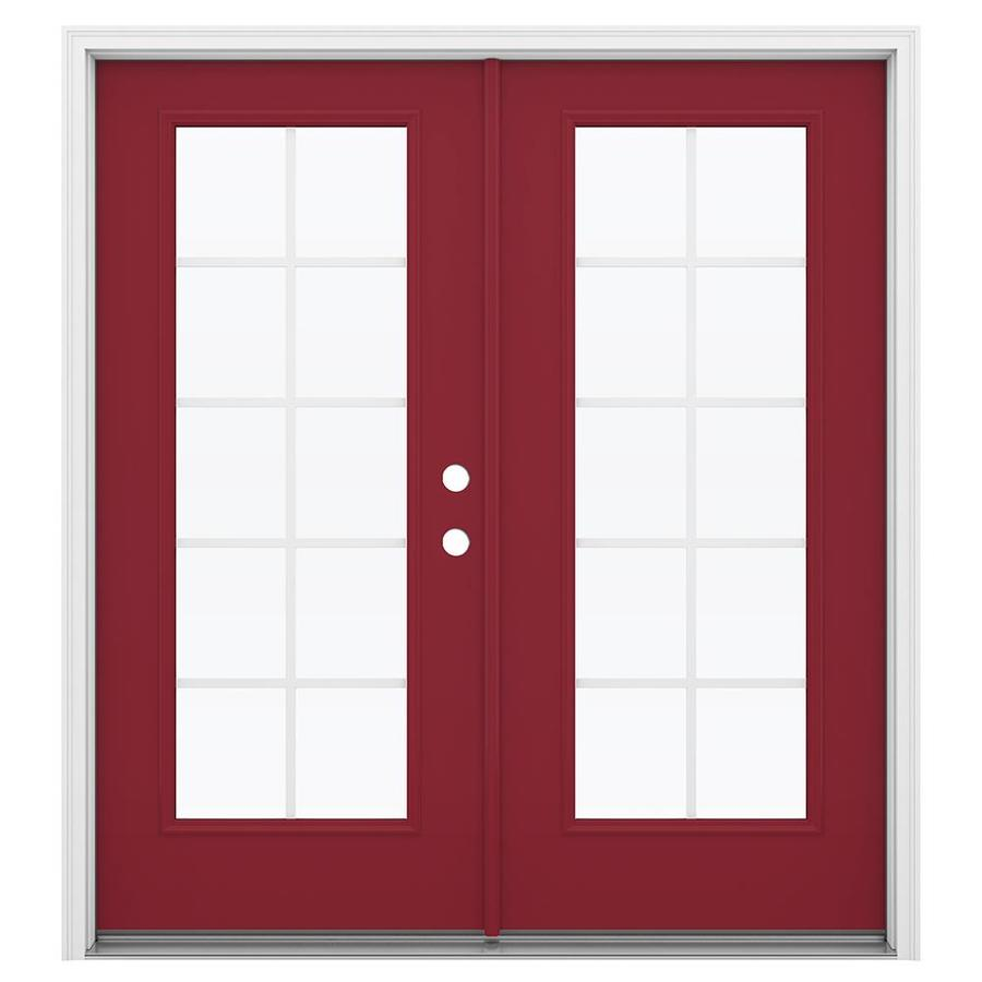 ReliaBilt 71.5-in x 79.5-in Grilles Between the Glass Left-Hand Inswing Red Steel French Patio Door