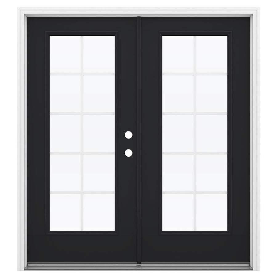 ReliaBilt 71.5-in Grilles Between the Glass Peppercorn Steel French Inswing Patio Door