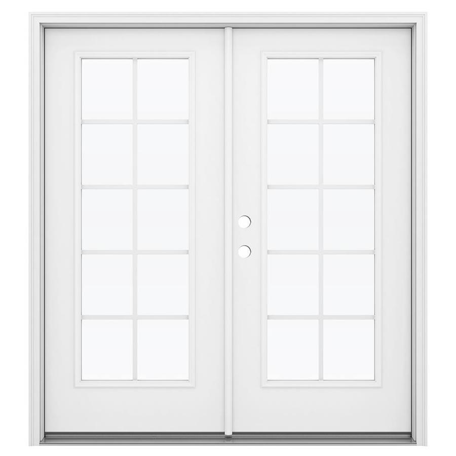 ReliaBilt 71.5-in x 79.5-in Grilles Between the Glass Right-Hand Inswing Steel French Patio Door
