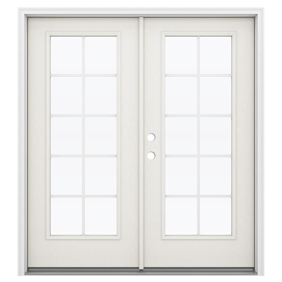 ReliaBilt 71.5-in Grilles Between the Glass Sandy Shore Steel French Inswing Patio Door