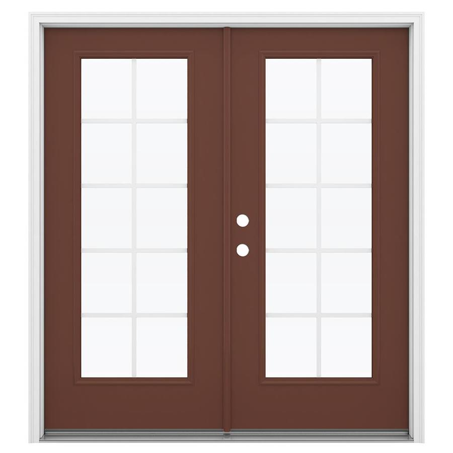 ReliaBilt 71.5-in Grilles Between the Glass Foxtail Steel French Inswing Patio Door