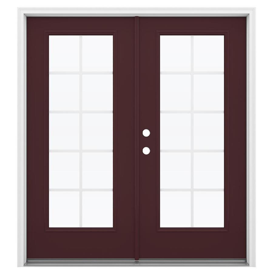 ReliaBilt 71.5-in Grilles Between the Glass Currant Steel French Inswing Patio Door