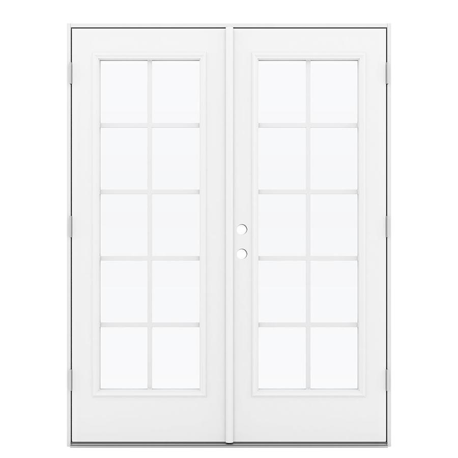 ReliaBilt 59.5-in x 79.5-in Grilles Between the Glass Left-Hand Outswing White Steel French Patio Door