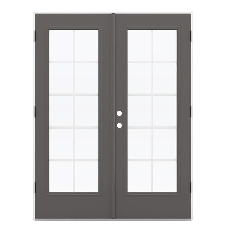 ReliaBilt 59.5-in Grilles Between the Glass Timber Gray Steel French Outswing Patio Door