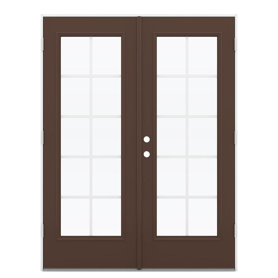 ReliaBilt 59.5-in x 79.5-in Grilles Between the Glass Left-Hand Outswing Steel French Patio Door
