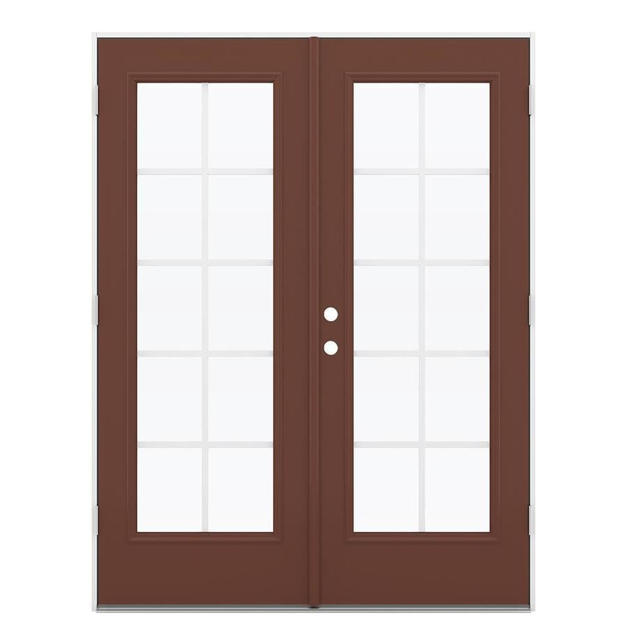 ReliaBilt 59.5-in Grilles Between the Glass Foxtail Steel French Outswing Patio Door
