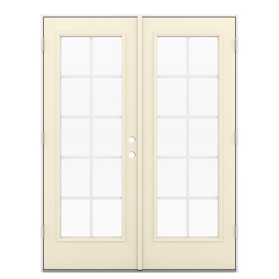 ReliaBilt 59.5-in Grilles Between the Glass Bisque Steel French Outswing Patio Door