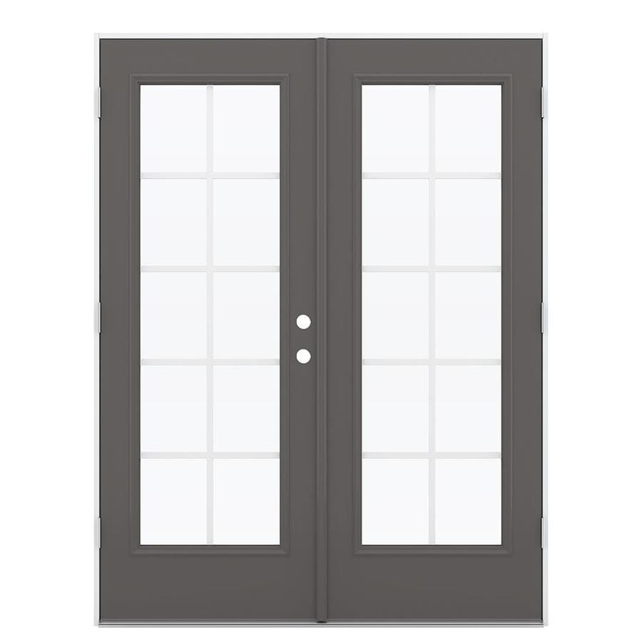ReliaBilt 59.5-in x 79.5-in Grilles Between the Glass Right-Hand Outswing Gray Steel French Patio Door