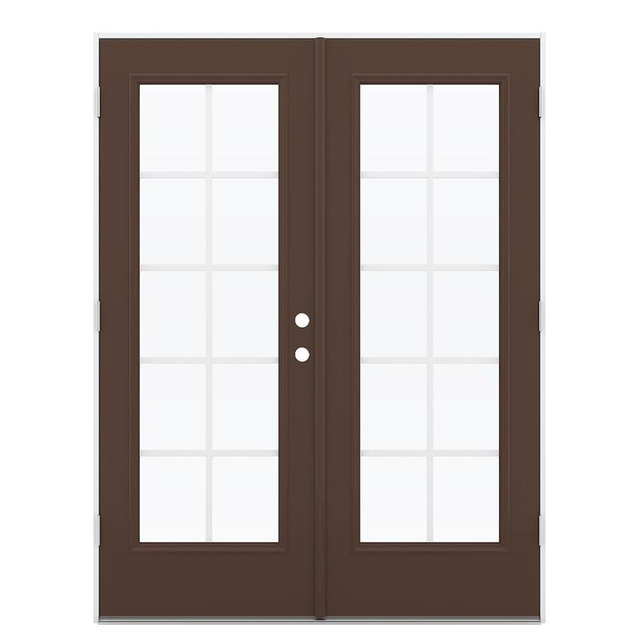 ReliaBilt 59.5-in Grilles Between the Glass Chococate Steel French Outswing Patio Door