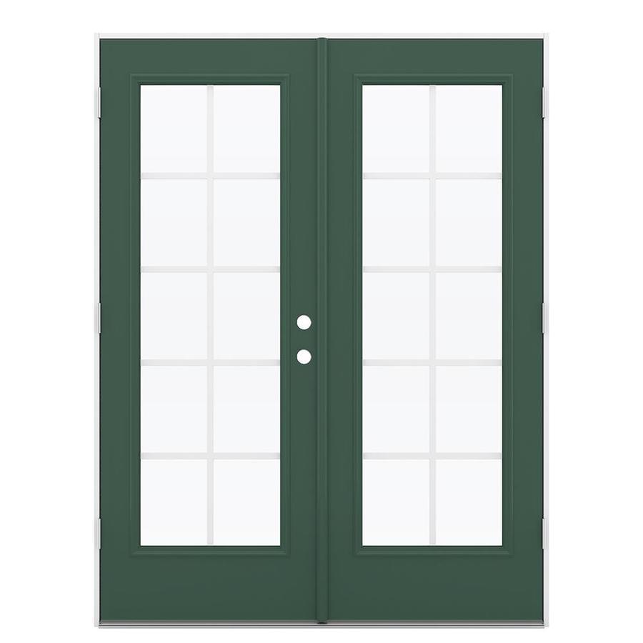 ReliaBilt 59.5-in Grilles Between the Glass Evergreen Steel French Outswing Patio Door