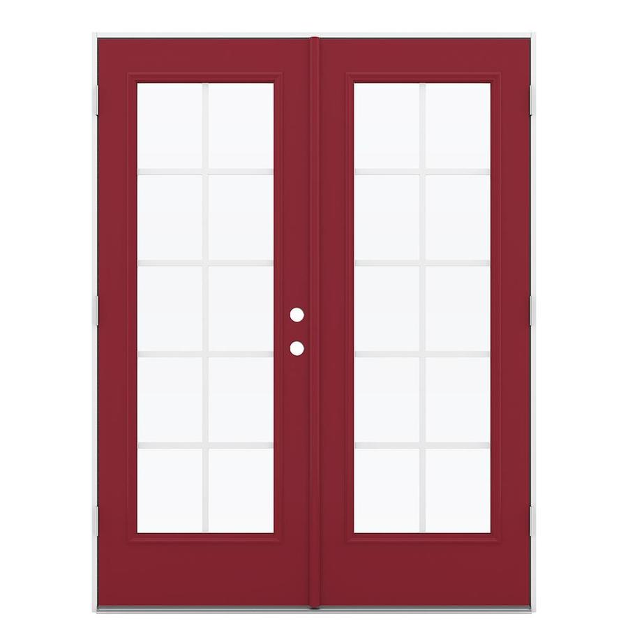ReliaBilt 59.5-in x 79.5-in Grilles Between the Glass Right-Hand Outswing Red Steel French Patio Door