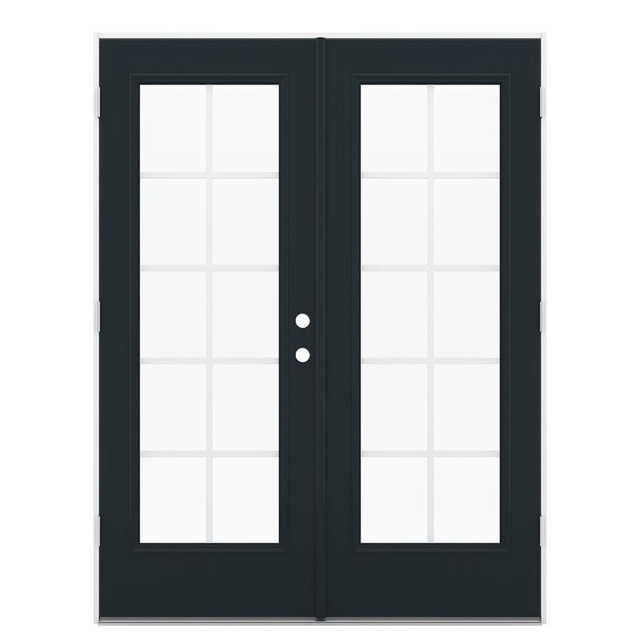 ReliaBilt 59.5-in Grilles Between the Glass Eclipse Steel French Outswing Patio Door