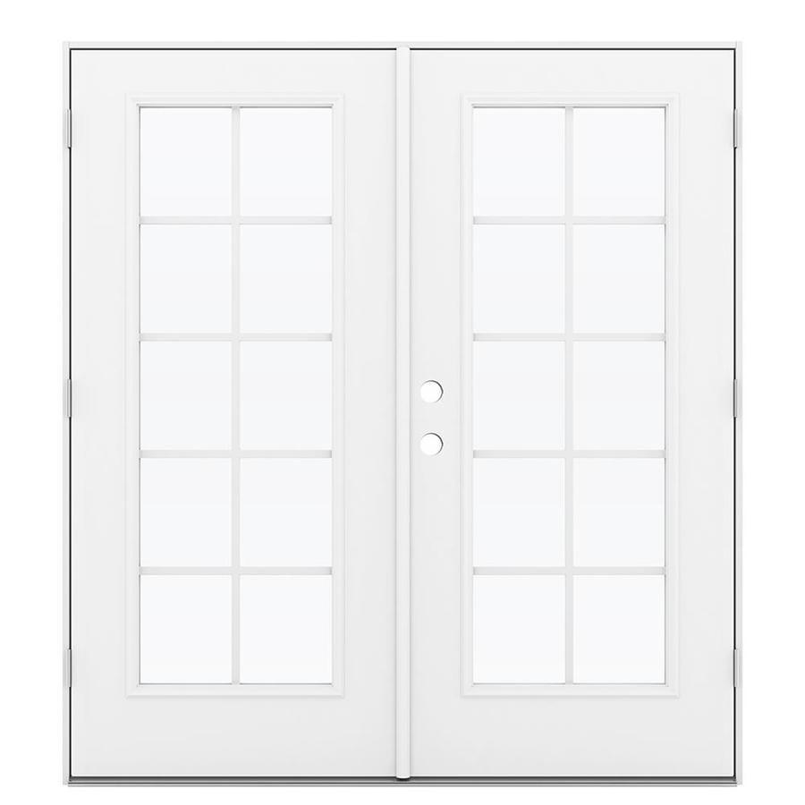 ReliaBilt 71.5-in x 79.5-in Grilles Between the Glass Left-Hand Outswing Steel French Patio Door