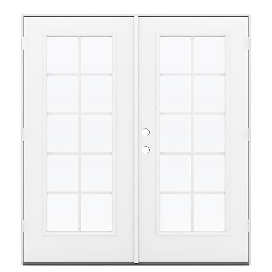 ReliaBilt 71.5-in Grilles Between the Glass Arctic White Steel French Outswing Patio Door