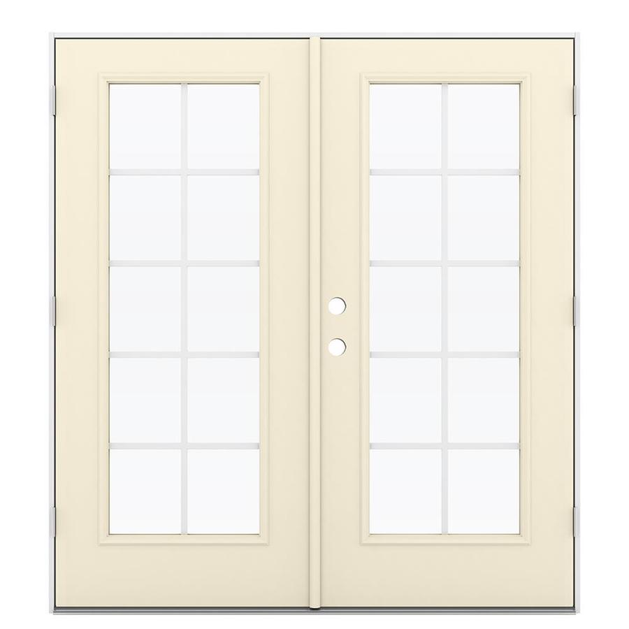 ReliaBilt 71.5-in Grilles Between the Glass Bisque Steel French Outswing Patio Door