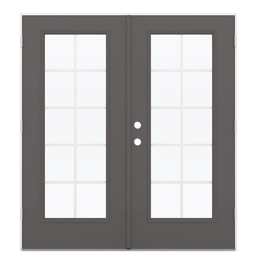 ReliaBilt 71.5-in x 79.5-in Grilles Between the Glass Left-Hand Outswing Gray Steel French Patio Door