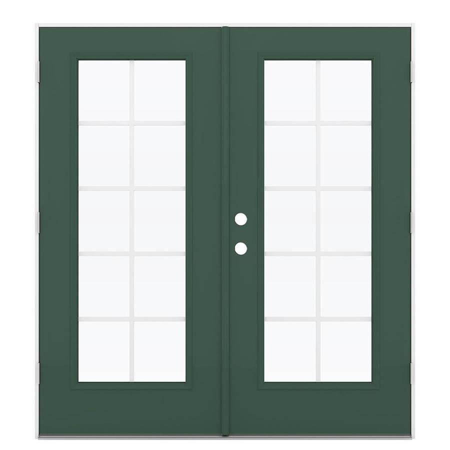 ReliaBilt 71.5-in Grilles Between the Glass Evergreen Steel French Outswing Patio Door