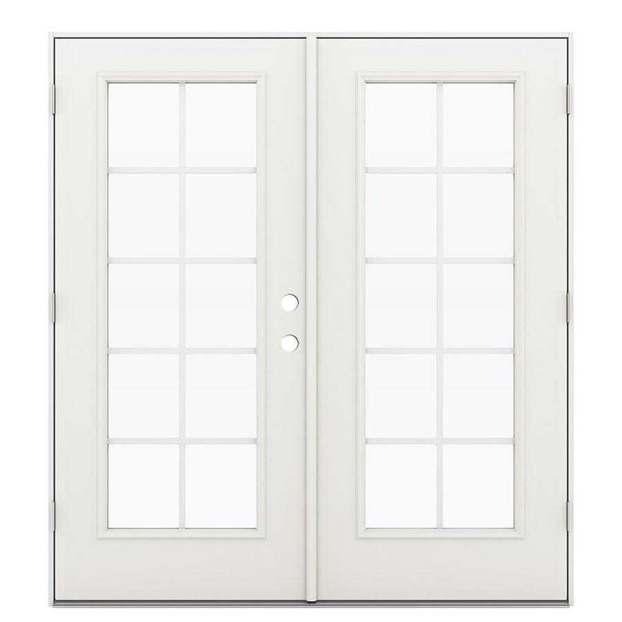 ReliaBilt 71.5-in Grilles Between the Glass Sandy Shore Steel French Outswing Patio Door
