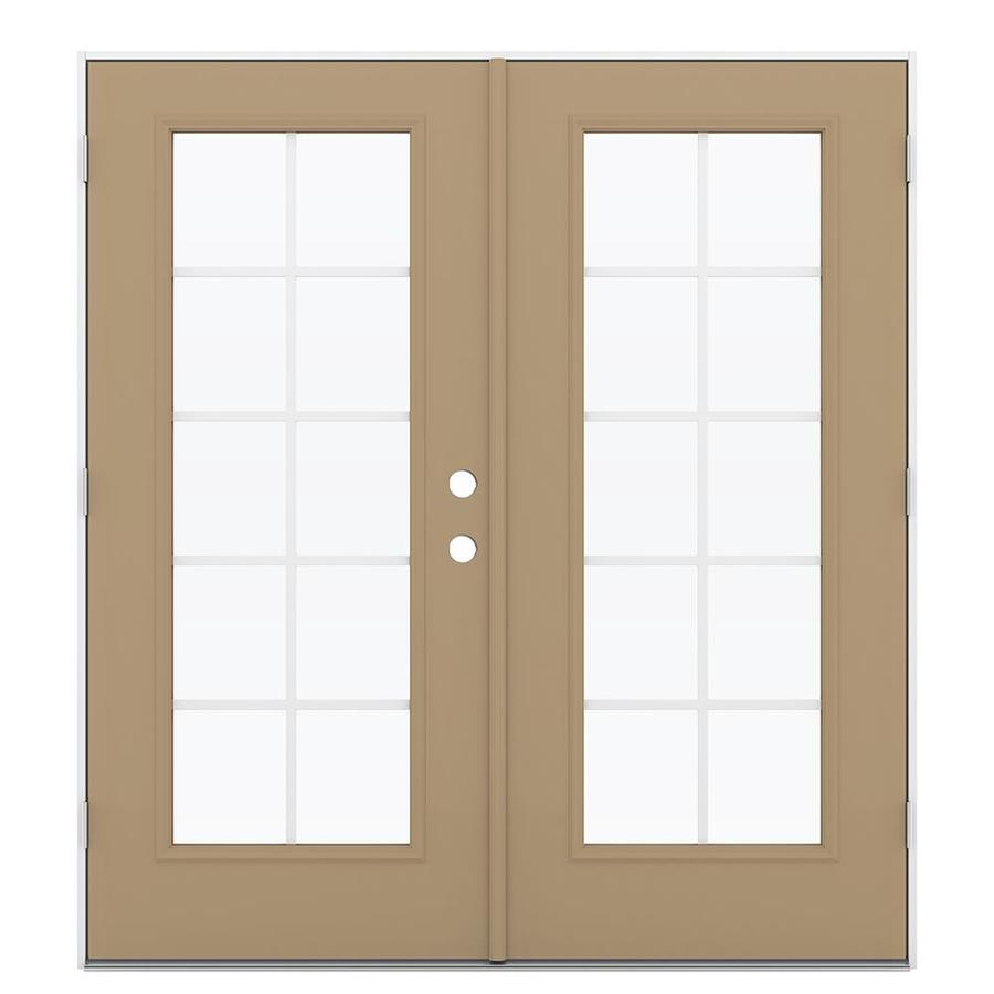 ReliaBilt 71.5-in x 79.5-in Grilles Between the Glass Right-Hand Outswing Steel French Patio Door
