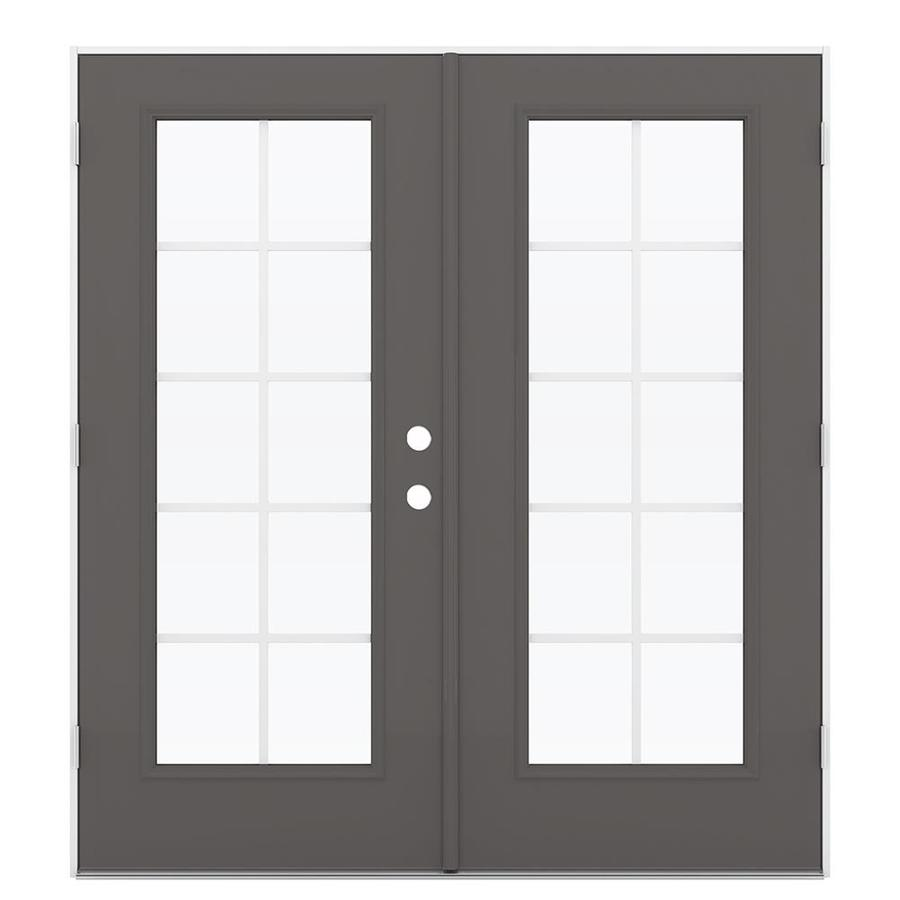 ReliaBilt 71.5-in Grilles Between the Glass Timber Gray Steel French Outswing Patio Door
