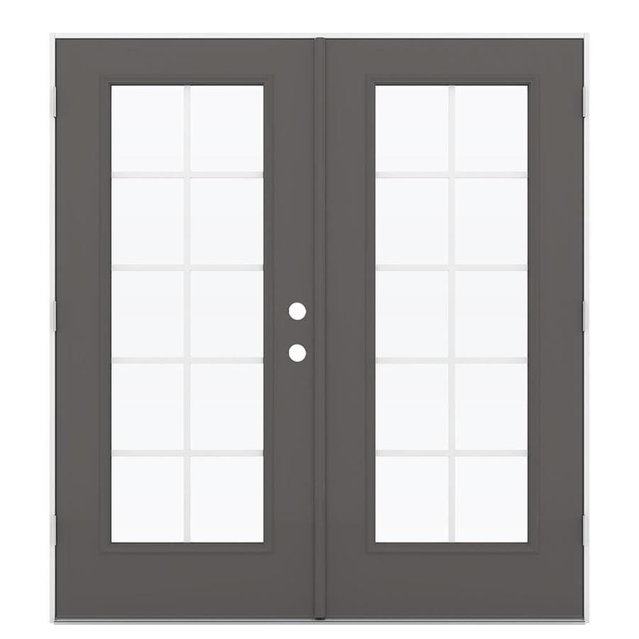 ReliaBilt 71.5-in x 79.5-in Grilles Between the Glass Right-Hand Outswing Gray Steel French Patio Door