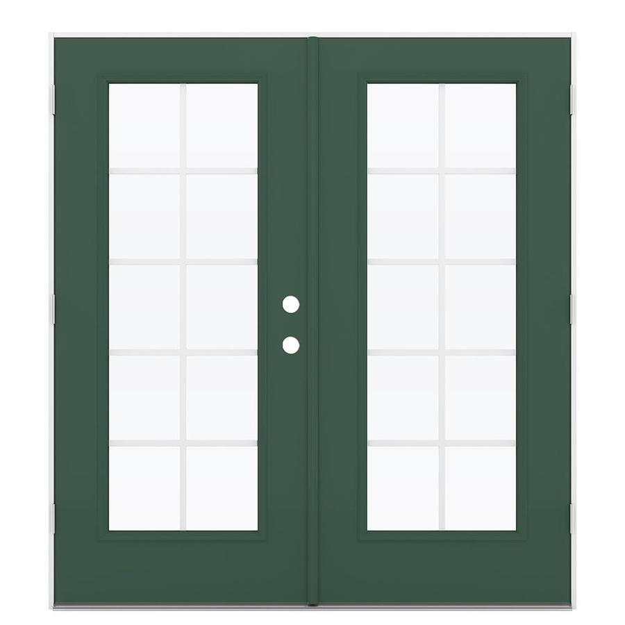 ReliaBilt 71.5-in Grilles Between the Glass Evergreen Steel French Outswing Patio Door
