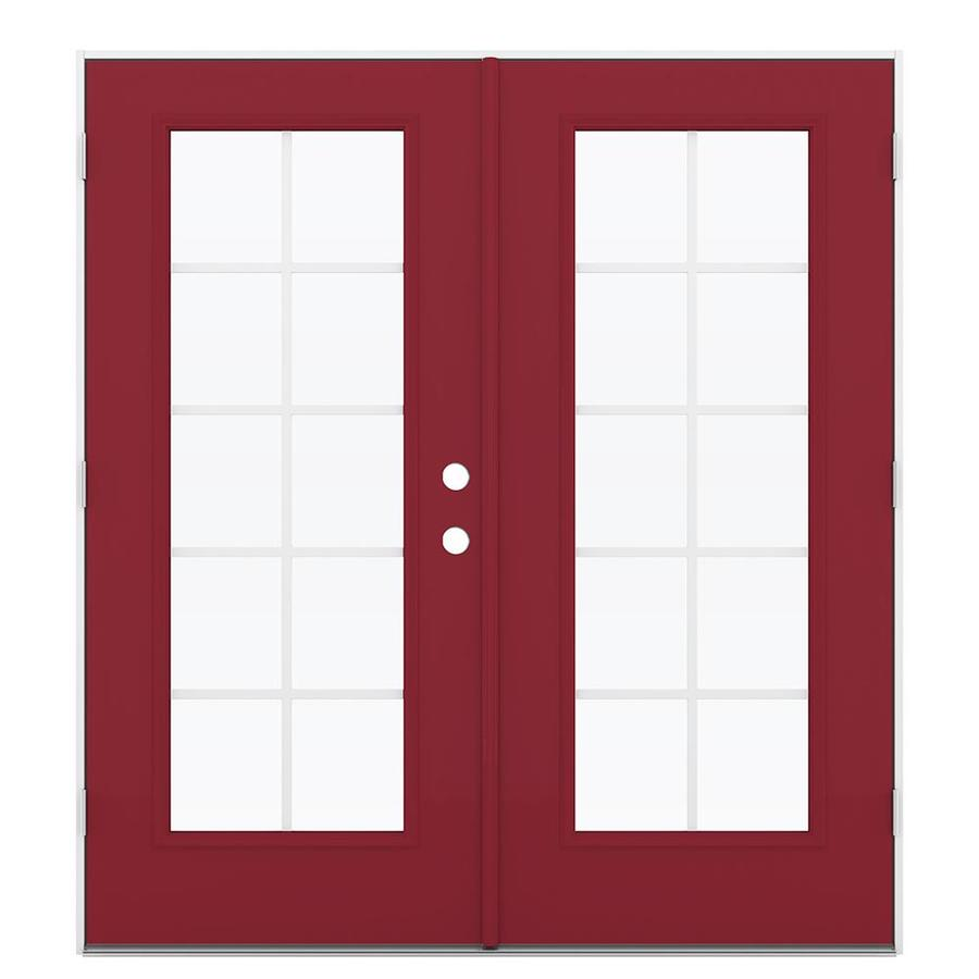 ReliaBilt 71.5-in Grilles Between the Glass Roma Red Steel French Outswing Patio Door