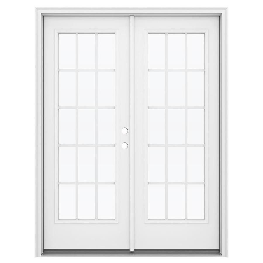 ReliaBilt 59.5-in 15-Lite Grilles Between the Glass Primed Steel French Inswing Patio Door