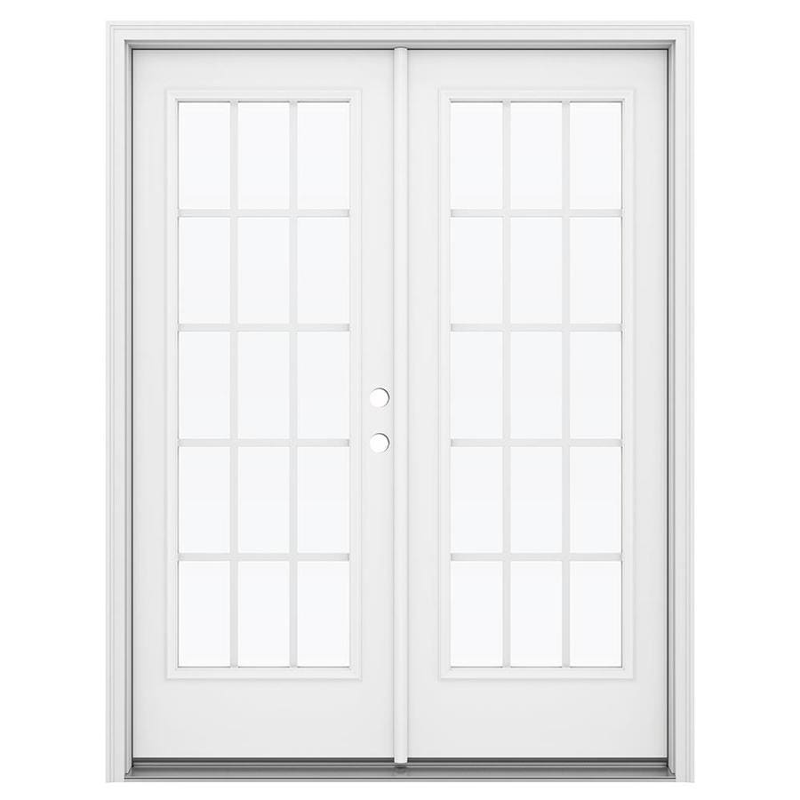 ReliaBilt 59.5-in 15-Lite Grilles Between the Glass Arctic White Steel French Inswing Patio Door