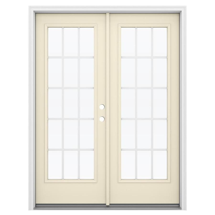 ReliaBilt 59.5-in x 79.5-in Grilles Between the Glass Left-Hand Inswing Steel French Patio Door