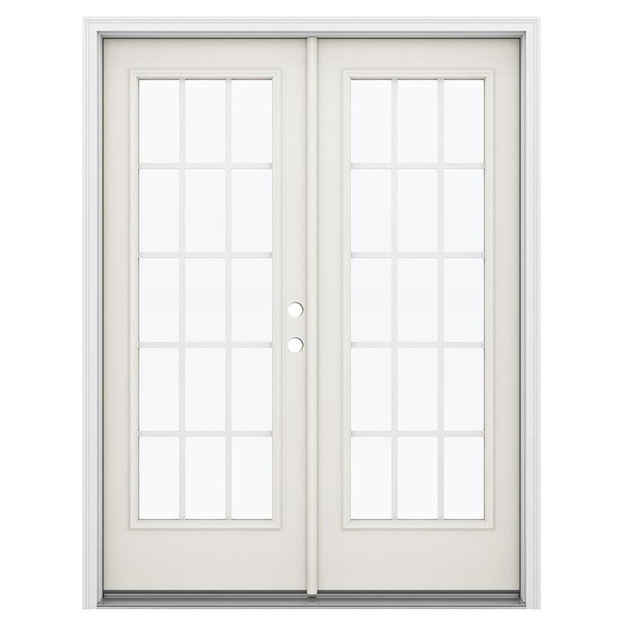 ReliaBilt 59.5-in 15-Lite Grilles Between the Glass Sandy Shore Steel French Inswing Patio Door