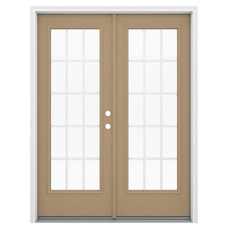 ReliaBilt 59.5-in x 79.5-in Grilles Between the Glass Left-Hand Inswing Steel French Patio Door