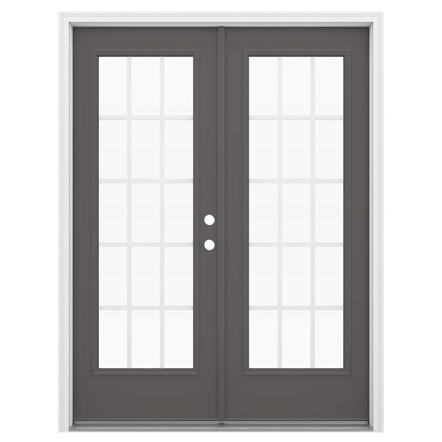 ReliaBilt 59.5-in 15-Lite Grilles Between the Glass Timber Gray Steel French Inswing Patio Door