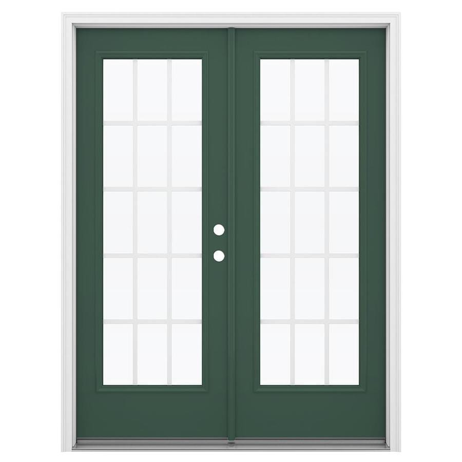 ReliaBilt 59.5-in 15-Lite Grilles Between the Glass Evergreen Steel French Inswing Patio Door