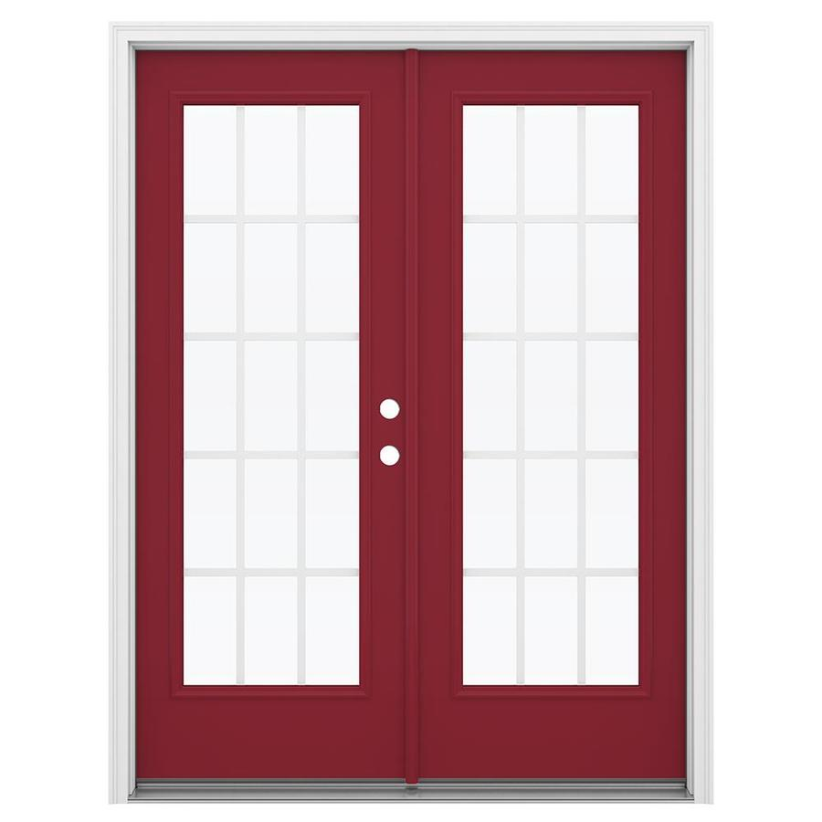 ReliaBilt 59.5-in 15-Lite Grilles Between the Glass Roma Red Steel French Inswing Patio Door