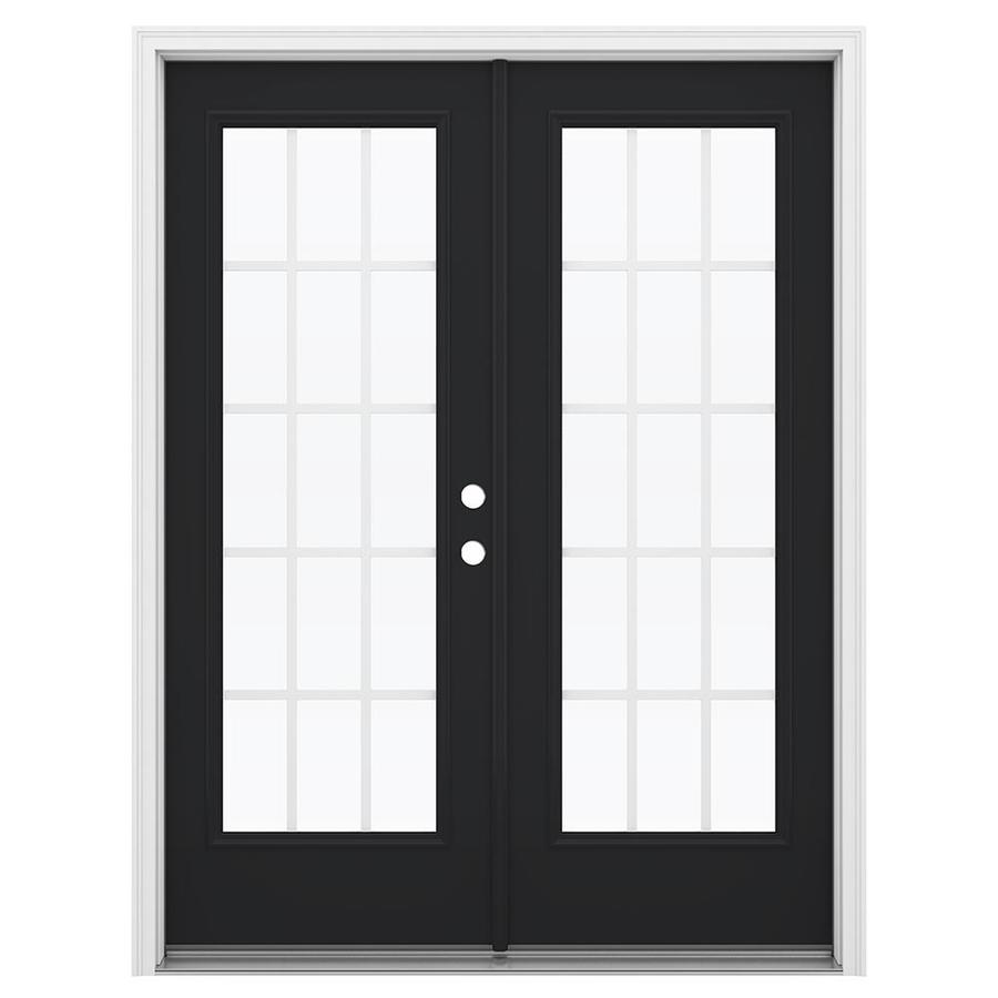 ReliaBilt 59.5-in 15-Lite Grilles Between the Glass Peppercorn Steel French Inswing Patio Door