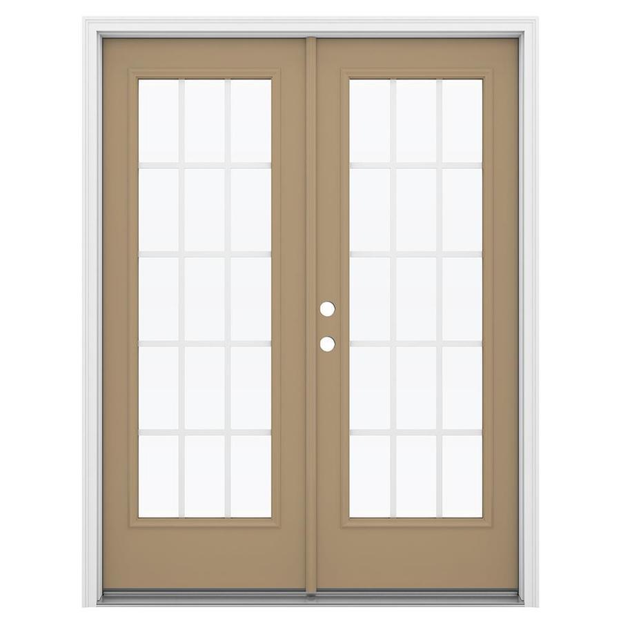 ReliaBilt 59.5-in 15-Lite Grilles Between the Glass Warm Wheat Steel French Inswing Patio Door