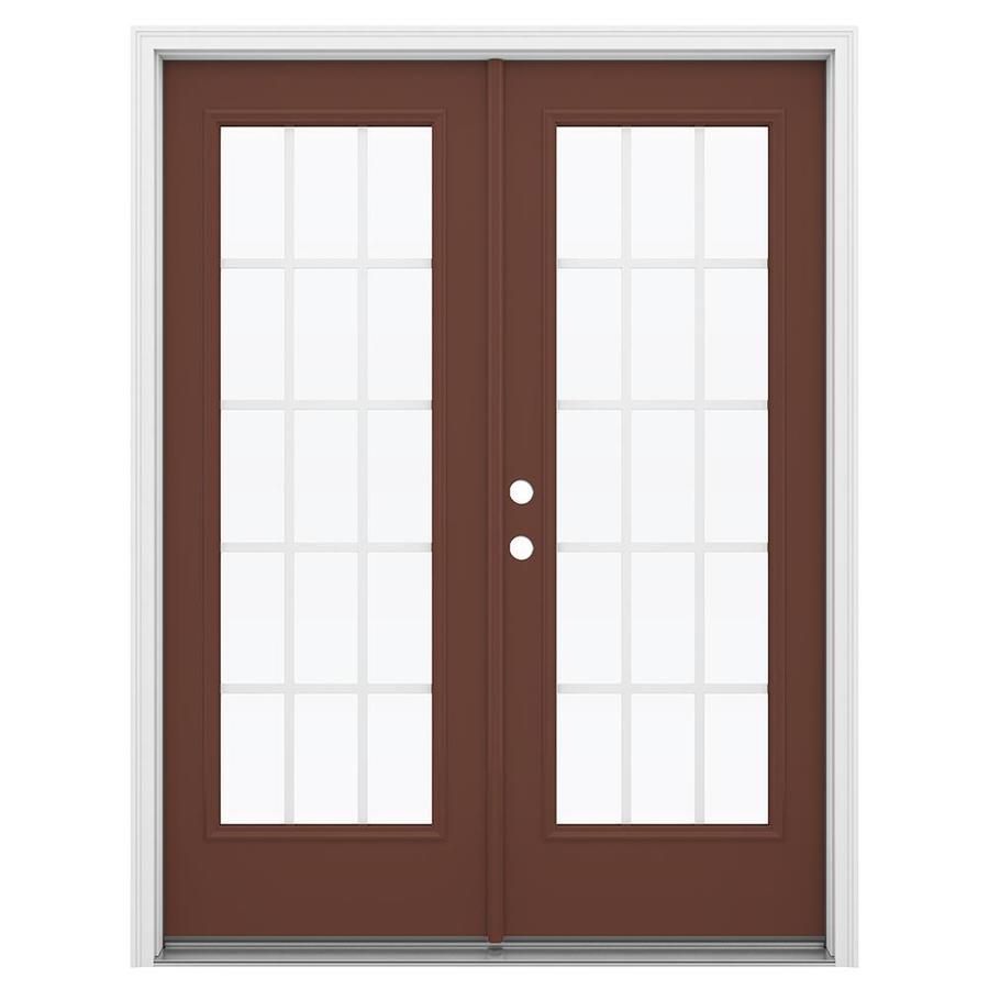 ReliaBilt 59.5-in 15-Lite Grilles Between the Glass Foxtail Steel French Inswing Patio Door