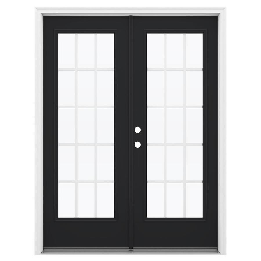 ReliaBilt 59.5-in 15-Lite Grilles Between the Glass Peppercorn Steel French Inswing Patio Door