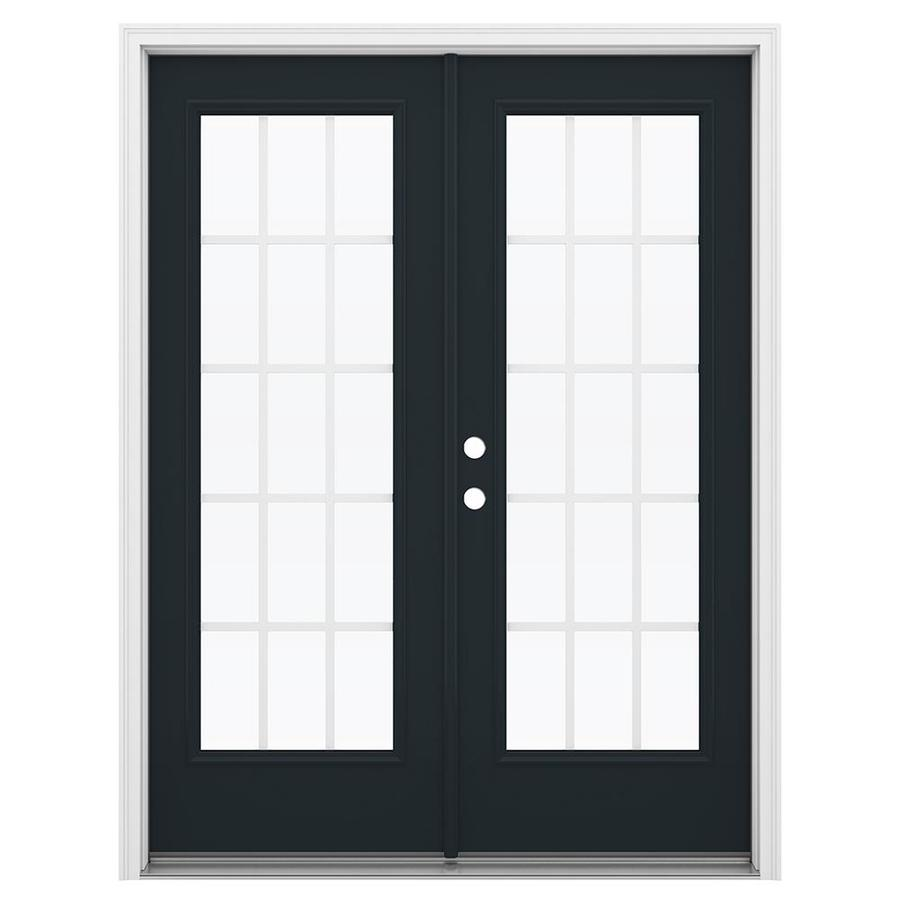 ReliaBilt 59.5-in 15-Lite Grilles Between the Glass Eclipse Steel French Inswing Patio Door